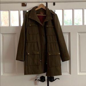 Green long line women's pea coat
